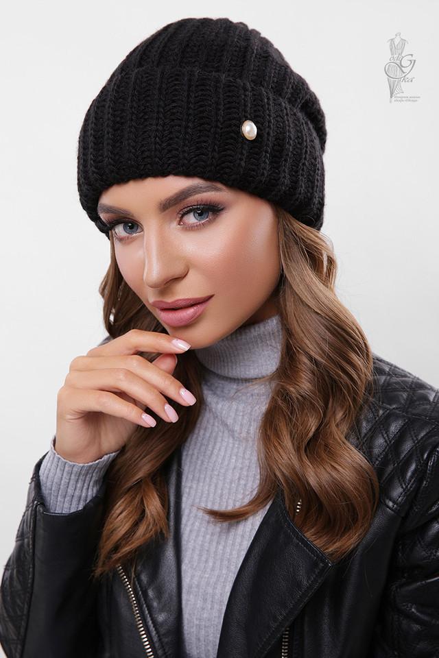 Цвет черный Вязаных женских шапок Грай