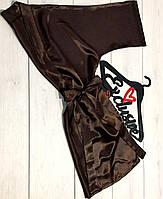 Короткий атласний жіночий халат на 42-44