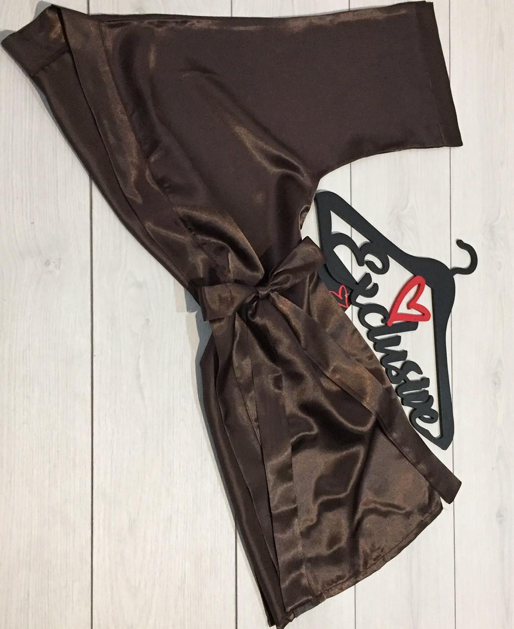 Женская одежда для дома и сна ТМ Exclusive: шоколадный атласный халат