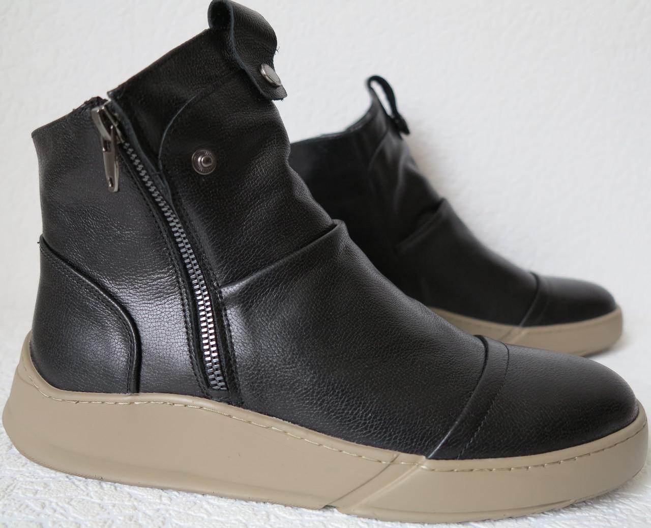 98b49de4e4a6da Gross жіночі стильні чорні зимові шкіряні черевики зі змійкою напівчеревики  Грос чоботи кежуал великі розміри -
