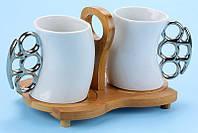 """Чашки с бамбук.подставкой """"кастет мал."""", набор 2 шт, фото 1"""