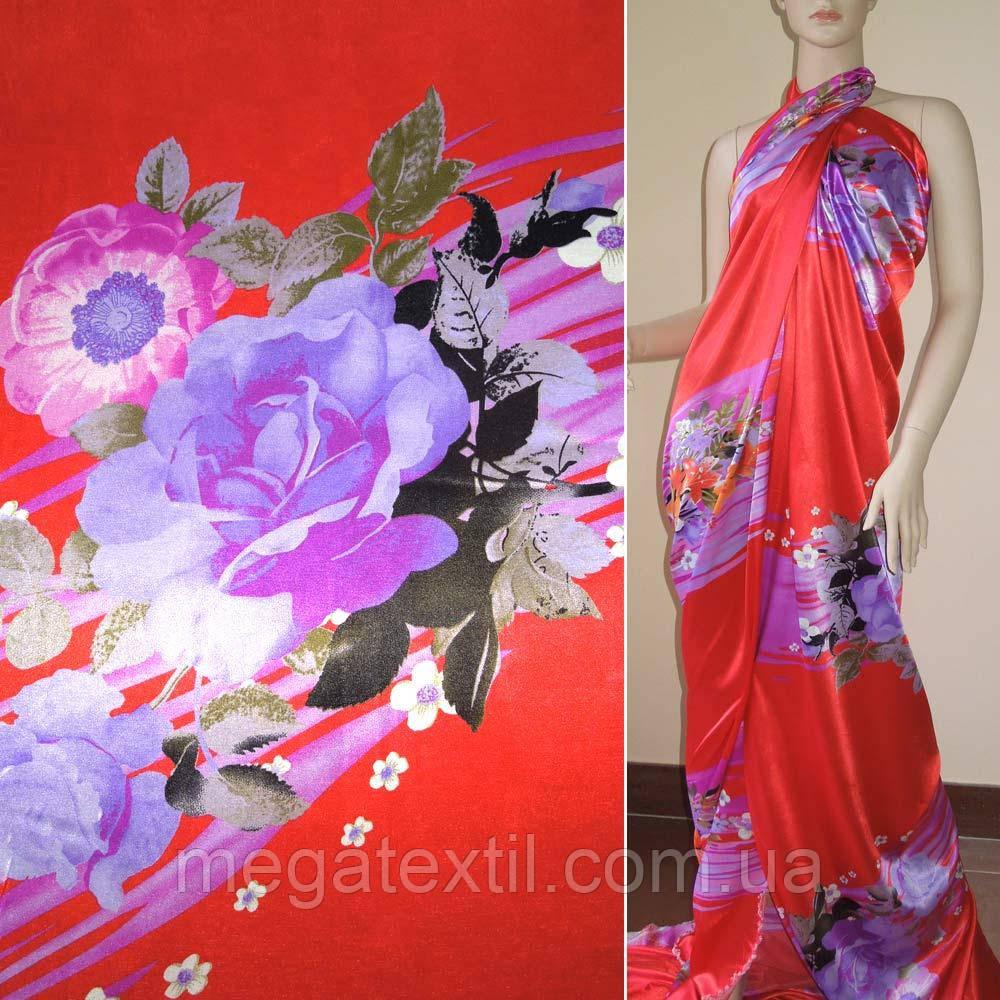 Атлас стрейч красный купон в фиолетовые полосы с цветами ш.150 (10144.013)