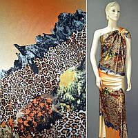 Атлас стрейч оранжево-кремовий в діагональні коричневі смужки (10158.001)