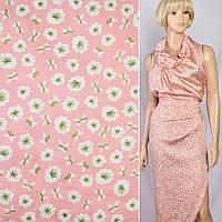 Шелк японский розовый в бело-салатовые цветы, ш.150 (10163.004)