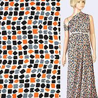 Шелк японский белый в черные, серые, оранжевые фигуры, ш.150 (10163.007)