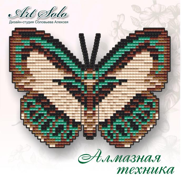 Алмазна техніка 145х110мм метелик-магніт «Голуб'янка Даніс (Danis Danis)»
