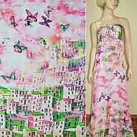 Шелк японский розовый, двухсторонний купон город (принт) ш.165 (10166.003)