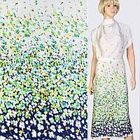 Шелк японский стрейч купон бело-зелено-синий в цветы ш.147 ( 10167.002 )