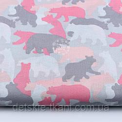 """Ткань хлопковая """"Силуэт медведя"""" серо-розовый, №1688"""
