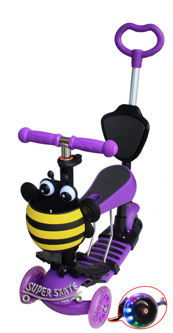 Трехколесный Самокат Беговел 5 в 1 Scooter - С родительской ручкой и сиденьем - Пчелка, Фиолетовый