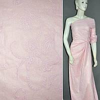 Батист серебристо-розовый с вышивкой и напылением