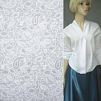 Батист белый с мелкими цветами и огурцами деваре ш.150