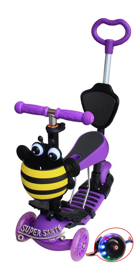 Трехколесный Детский Самокат Беговел 5 в 1 Scooter - С родительской ручкой и сиденьем - Пчелка, Фиолетовый