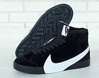 """Зимние мужские замшевые кроссовки Nike Blazer """"Черные с белым логотипом"""" высокие р. 41-45, фото 1"""