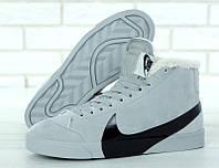 """Зимние мужские замшевые кроссовки Nike Blazer """"Светло-серые с черным логотипом"""" высокие р. 41-45, фото 1"""