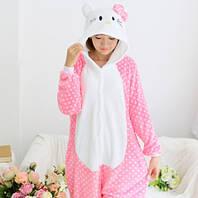 Пижама кигуруми Хелоу Китти розовая на детей и взрослых, размер xI