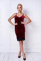 Женское платье из бархата с кружевом в расцветках. ТС-2-1218