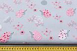 """Ткань хлопковая """"Ёжики на цветочной поляне"""" розовые на сером фоне, №1690, фото 2"""