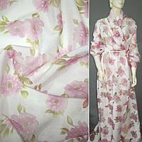 Батист білий з рожевими квітами з органзи деворе ш.150 (10283.001)
