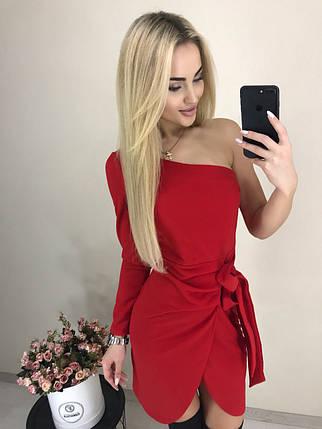 Сногсшибательное платье на одно плечо ft-1032 красное, фото 2