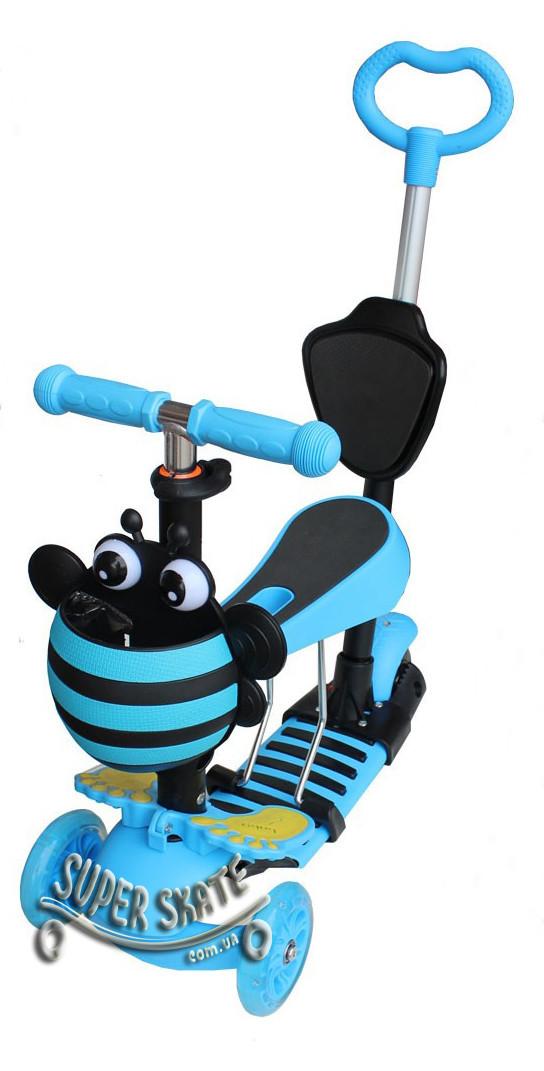 Трехколесный Самокат/Беговел 5 в 1 Scooter - С родительской ручкой и сиденьем - Пчелка, Голубой