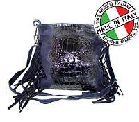 Женская кожаная сумка из Италии с бахромой