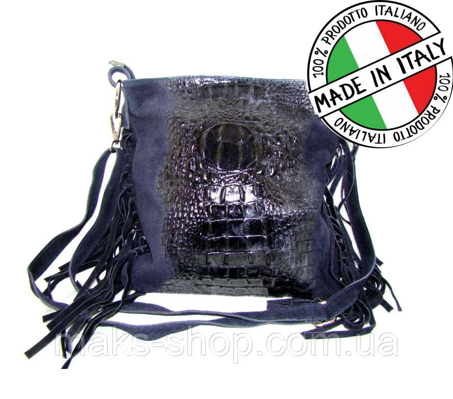 e2a2f7cbd079 Женская кожаная сумка из Италии с бахромой Vera Pelle S0260 Синий - Maks  Shop- надежный