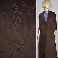 М/вельвет темно-коричневый, вышитый шелковой нитью, ш.145, фото 1