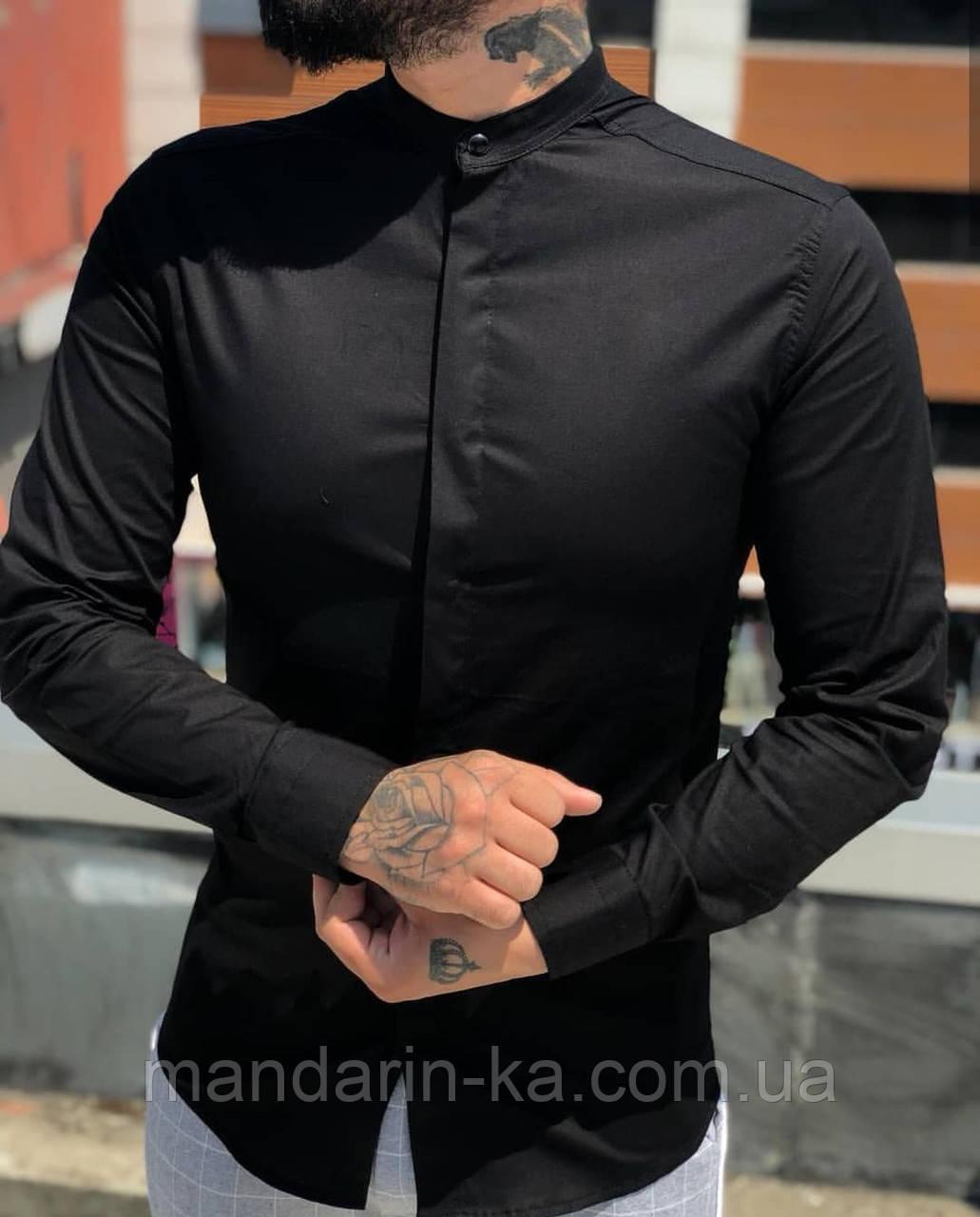 Рубашка мужская черная  Slim Fit с воротником стойкой.