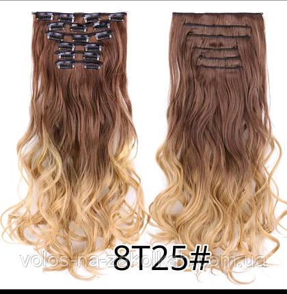 Волнистые волосы на заколках омбре амбре кудрявые с блондом, фото 2