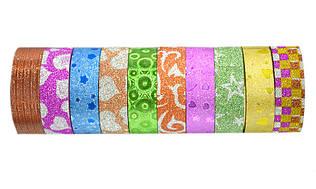 Декоративная клейкая лента Leader бумажный скотч 15 мм 3 метра (за 10 шт.)