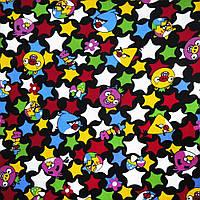 Микровельвет черный Аngry Birds и звезды ш.105 (10724.039)