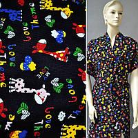 Микровельвет черный c жирафами Love Theme ш.110 (10724.080)
