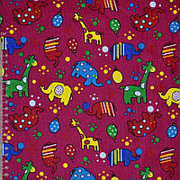 Микровельвет малиновый с жирафами и слониками ш.112 (10724.083)