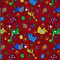 Микровельвет красный с жирафами и слониками ш.112 (10724.084)