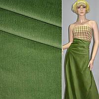 М/вельвет зеленый стрейч, однотонный, ш.150, фото 1