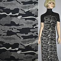 Вельвет стрейч светло-серый с черным камуфляж ш.140