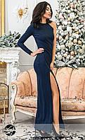 Вечернее платье с одним рукавом темно-синего цвета. Модель 20347. Размеры 42-48