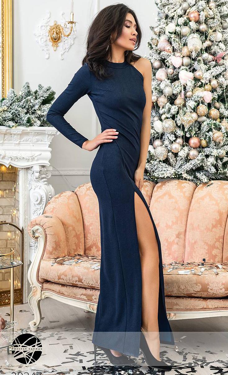 ae7c89a24be Вечернее платье с одним рукавом темно-синего цвета. Модель 20347. Размеры 42 -