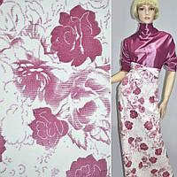 Стр. вельвет белый с розовыми розами, ш.140
