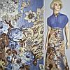 Вельвет стрейч коричнево-голубой с цветами, ш.140
