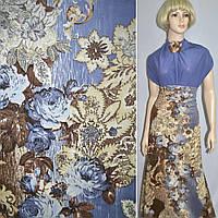 Вельвет стрейч коричнево-голубой с цветами, ш.140, фото 1