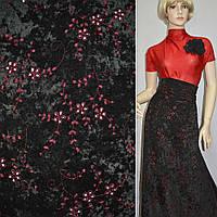 Микровелюр стрейч черный с бордовой вышивкой, ш.150 ( 10811.001 )