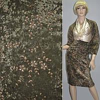 Микровелюр стрейч болотный с коричневой вышивкой, ш.150 ( 10811.002 )