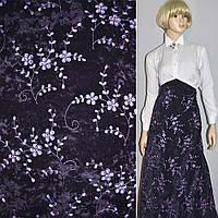 Микровелюр стрейч фиолетовый темный с сиреневой вышивкой, ш.150 ( 10811.003 )
