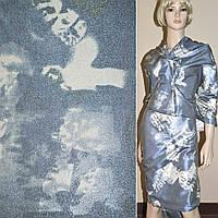 Вискоза костюмная с органзой сине-серая, ш.150 ( 10902.001 )