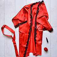 Нижнее белье, атласный комплект для дома халат и пеньюар, фото 2