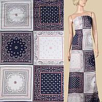 Вискоза белая, синие, белые платки (31см), ш.145