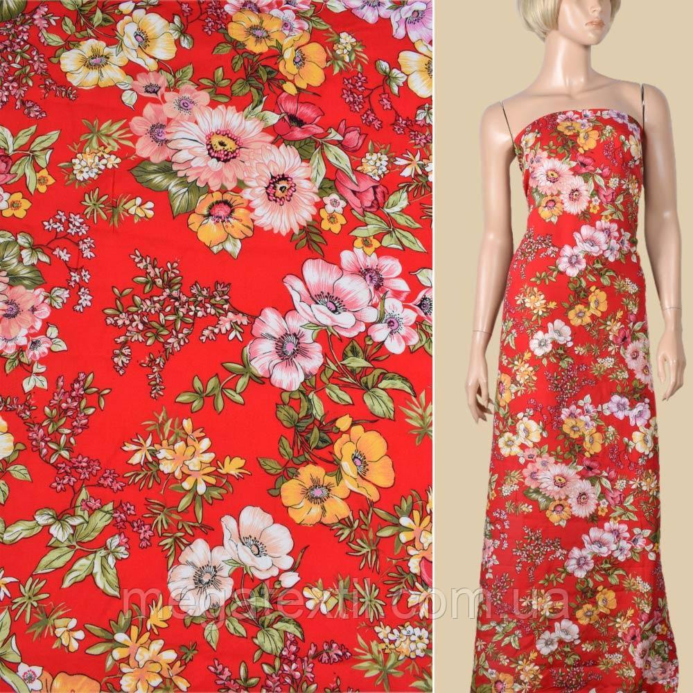 Вискоза красная в желтые, розовые вьющиеся цветы, ш.145 (10956.048)