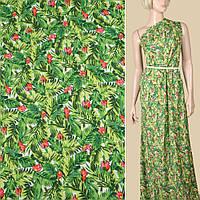 Вискоза белая, зеленые листья, розовые цветочки, ш.145